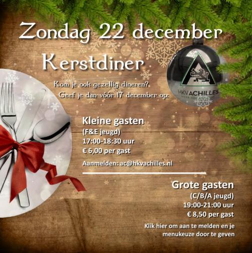 22 december: Kerstdiner voor A-, B-, C-, D-spelers en F & E-jeugd